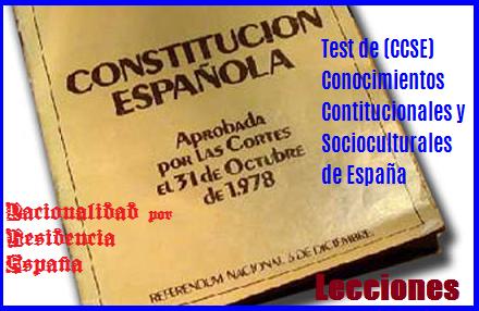 Nacionalidad x Residencia España, lecciones p Test CCSE